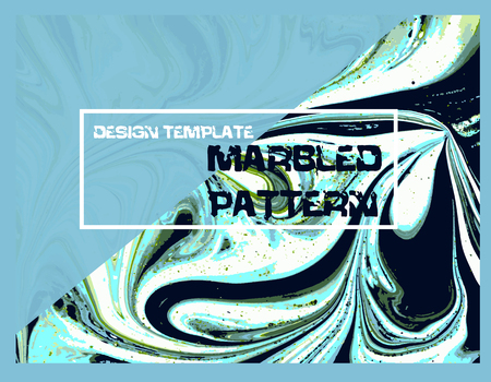 Marbled green and blue abstract background. Liquid marble pattern. Vector fluid texture. Business template design.