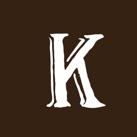 Letter K, Handwritten by dry brush, Rough strokes textured font.
