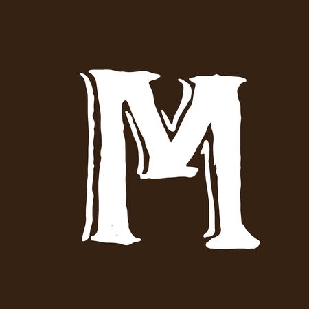 Dry brush handwritten letter M image illustration