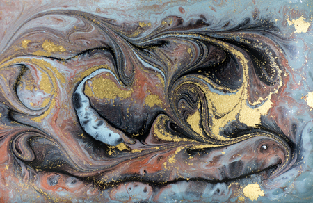 Marble abstract acrylic background. Nature blue and green marbling artwork texture. Golden glitter. Archivio Fotografico