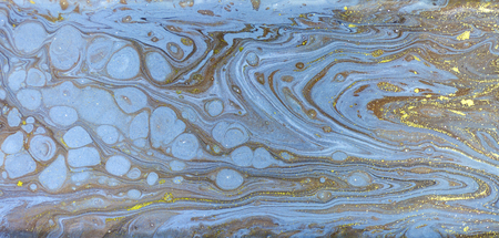 Marble abstract acrylic background. Nature blue and green marbling artwork texture. Golden glitter. Banco de Imagens