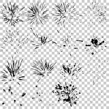 Ilustracion Vectorial De Fuegos Artificiales En Blanco Y Negro