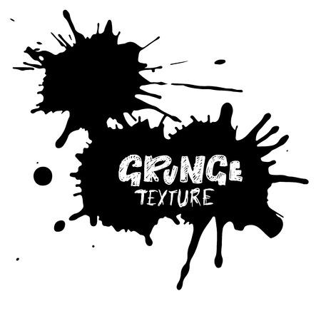 Hand drawn grunge texture. Abstract ink drops background. Black and white grunge illustration. Vector watercolor artwork pattern