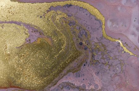 Marble abstract acrylic background. Purple marbling artwork texture. Agate ripple pattern. Gold powder