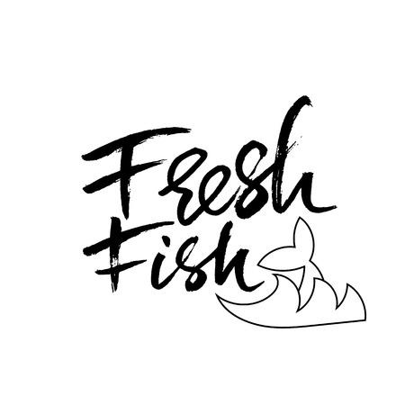Fresh fish. Modern calligraphy banner. Dry brush lettering. Vector illustration. Illustration