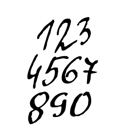 Set of calligraphic ink numbers. Textured brush lettering. Vector illustration. Illustration