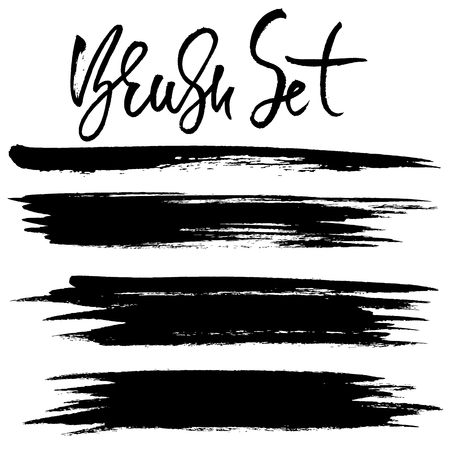 Grunge ink brush strokes. Freehand black brushes. Handdrawn dry brush black smears. Modern vector illustration.