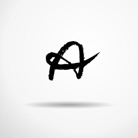 Letter A. Handwritten by dry brush. Rough strokes textured font. Vector illustration. Grunge style alphabet. Vettoriali