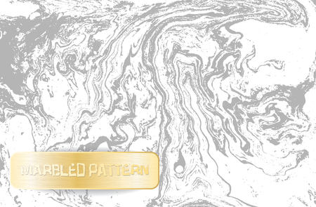 White and gray marble pattern. Light marbling texture. Decorative marbled background with gold banner. Vector illustration. Ilustracja