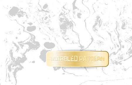 Patrón de mármol blanco y gris. Textura ligera veteada. Fondo de mármol decorativo con estandarte dorado. Ilustración de vector.