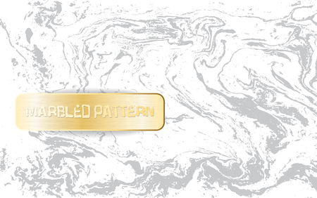 White and gray marble pattern. Light marbling texture. Decorative marbled background with gold banner. Vector illustration.