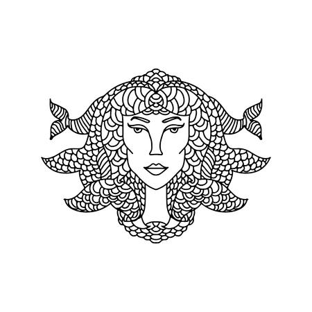Portrait de fille Poissons. Signe du zodiaque pour livre de coloriage adulte. Illustration vectorielle simple en noir et blanc.