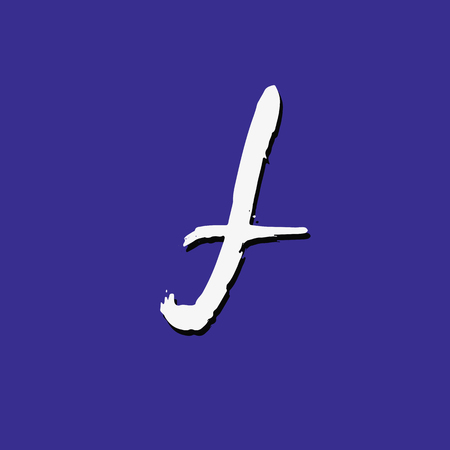 White lower case letter F on violet background. Vector illustration