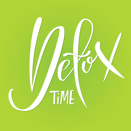 Detox time. Digital lettering on green background. Typography banner. Vector illustration. Stock Photo