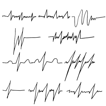 Heart rate graphics set. Cardiac systole brush. Vector illustration Illustration