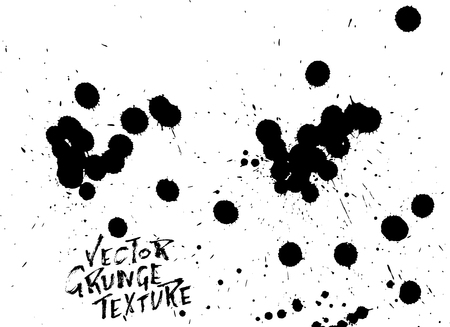 Handdrawn grunge texture. Abstract ink drops background. Black and white grunge illustration. Vector watercolor artwork pattern