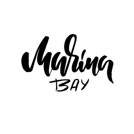 Marina bay lettering. Modern brush lettering. Vector illustration 写真素材 - 112365380