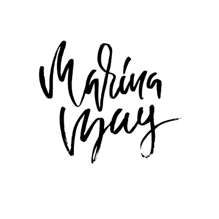 Marina bay lettering. Modern brush lettering. Vector illustration 写真素材 - 105660521