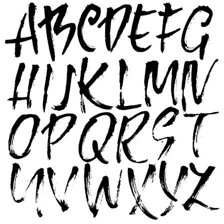 Lettering moderno pennello asciutto disegnato a mano. Alfabeto in stile grunge. Carattere scritto a mano. Illustrazione vettoriale