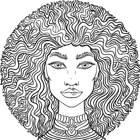 Hand drawn doodle girlss face on white background. Womens portrait for adult coloring book.