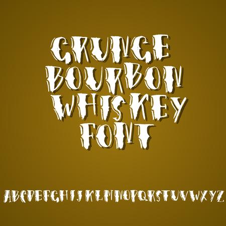 Grunge vintage whiskey font. Old handcrafted display skript. Modern brush label lettering. Vector typography illustration