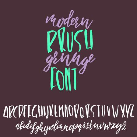 Hand drawn dry brush lettering. Grunge style alphabet. Handwritten font. Vector illustration