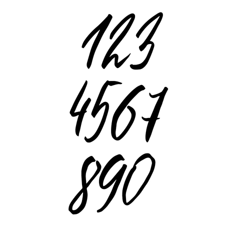 Set of calligraphic ink numbers. Textured dry brush lettering. Vector illustration Illustration