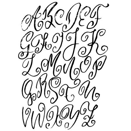 Hand drawn modern dry brush lettering. Grunge style alphabet. Handwritten font. Vector illustration