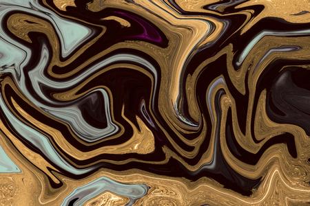 Gold marbling texture design. Black and golden marble pattern. Fluid art