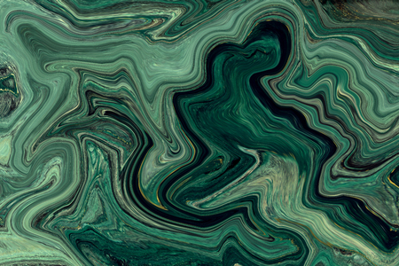 Green and gold marbling texture design. Marble pattern. Fluid art