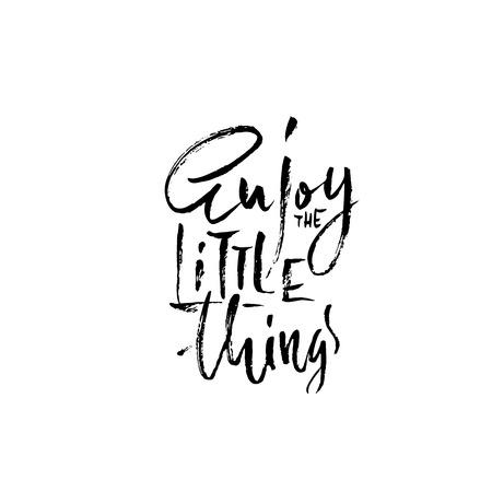 Genieße die kleinen Dinge. Handgezeichnete trockene Pinselschrift. Tinte Abbildung. Moderne Kalligraphie-Phrase. Vektor-Illustration