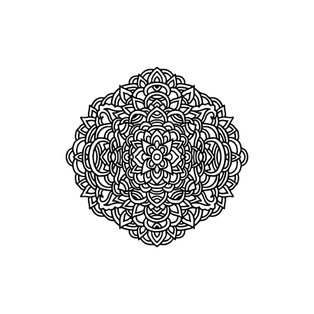 Abstract mandala ornament. Asian style pattern. Black and white background. Vector illustration