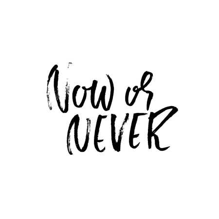 Now or never. Hand drawn vector lettering. Motivating modern calligraphy