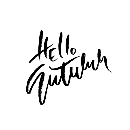 Hello autumn hand drawn lettering isolated on white background. Vector illustration. Dry brush typography poster