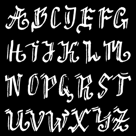 Lettrage de brosse sèche moderne dessiné à la main. Alphabet de style gothique. Police manuscrite grunge. Illustration vectorielle