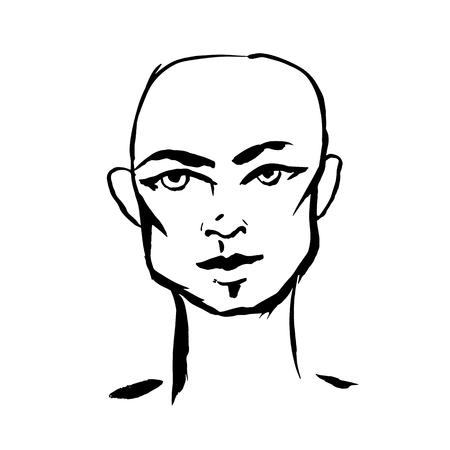 Brush grunge style simple portrait of bald-headed man. Ink handmade drawing. Modern vector illustration