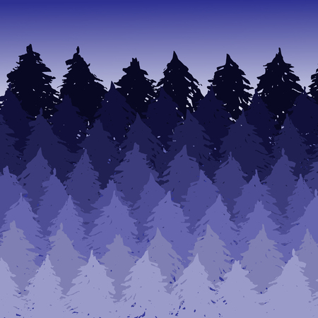 Vector misty spruce forest landscape. Brush silhouettes of coniferous trees. Vector violet illustration