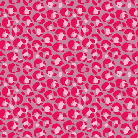 Vector illustration leopard print seamless pattern. Pink hand drawn background Иллюстрация