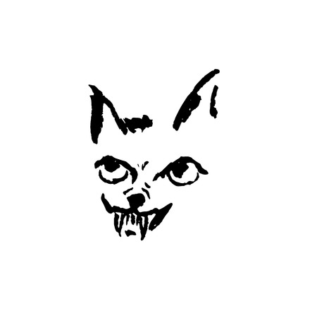 Vector illustration of angry dog with grin. Simple grunge hyena portrait Illustration