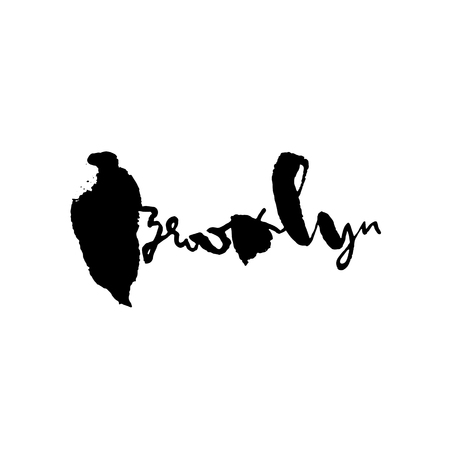 Brooklyn lettering. Hand drawn modern dry brush calligraphy. Isolated vector illustration Illustration
