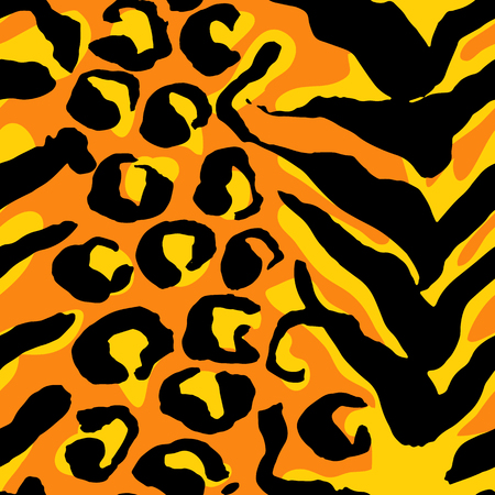 Vector illustration tiger print seamless pattern. Orange and yellowhand drawn background