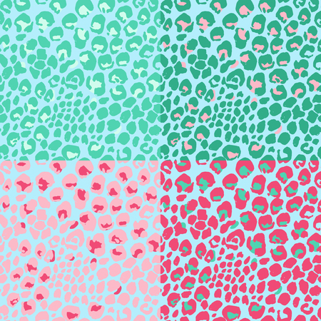 Vector illustration leopard print seamless pattern. Pink and mint hand drawn background