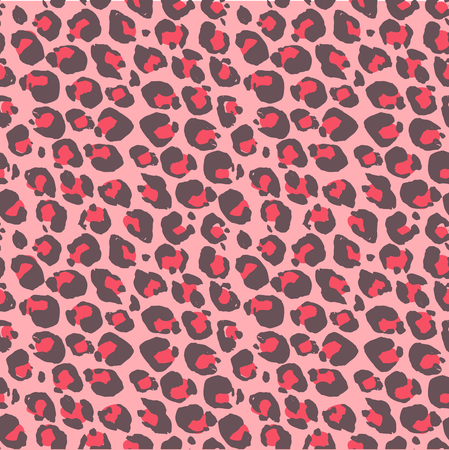 Vector illustration leopard print seamless pattern. Pink hand drawn background Ilustração