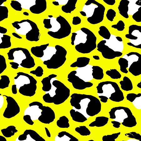 Nahtloses Muster des Leopardenmotivs der Vektorillustration. Gelber Hand gezeichneter Hintergrund Vektorgrafik