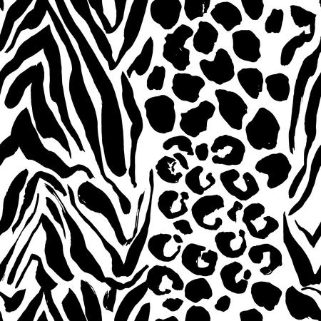 Brush painted tiger seamless pattern. Black and white leopard stripes grunge background Ilustração