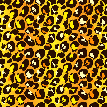 Vector illustration leopard print seamless pattern. Yellow and orange hand drawn background