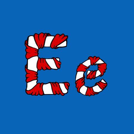 Wrapped in a ribbon letter E. Blue and red letter. Vector illustration. Vetores