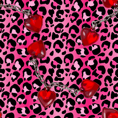 Brush painted tiger seamless pattern. Pink leopard spots and chained red heart background