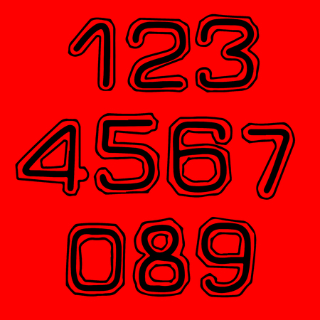 Font with contour in college style. Numbers set  イラスト・ベクター素材