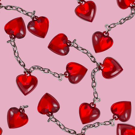 Red heart metal chained seamless pattern. Vector illustration